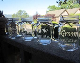 Mason Jars Mugs, Wedding Bridal Party, Gifts, Mason Jars, 6 Mugs