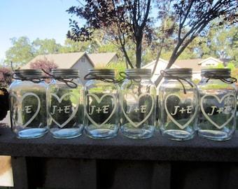 8 Custom Quart Mason Jars, Set of 8 Engraved Jars, Wedding Mason Jar Center Pieces