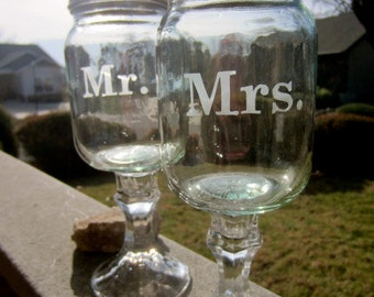 Mr and Mrs Redneck Wine glass set - Wedding