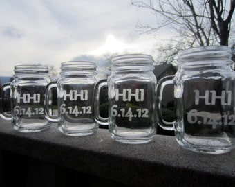 7 Mason Jar Mugs - Personalized Customized Mason Jar