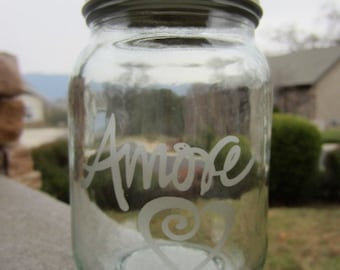LOVE AMORE PINT Etched Mason Jar, Valentines Day