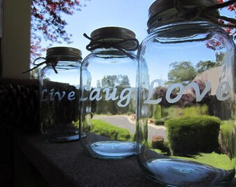 CUSTOMIZED Mason Jars Etched, Customize Pick 3, LARGE QUART Jars