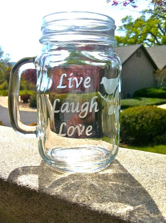 1 Mason Jar Mugs - LIVE, LAUGH, LOVE
