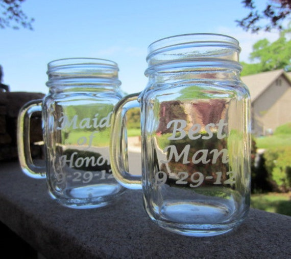 Mason Jar Mug, Wedding, Maid of Honor and Best Man