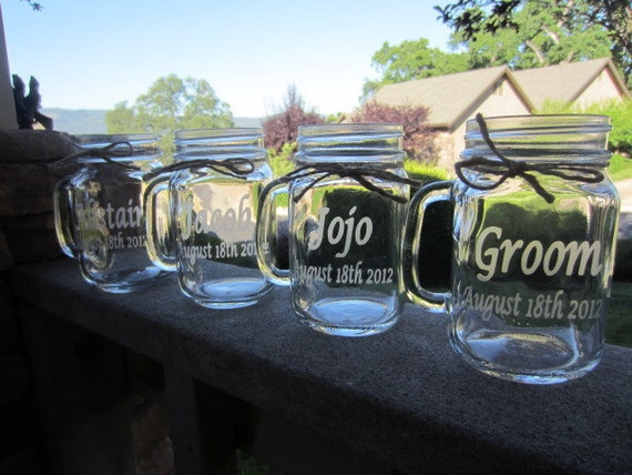 Mason Jars Mugs, Wedding Bridal Party, Gifts, Mason Jars, 6 Mugs