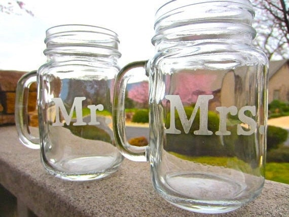 Mr. and Mrs. Mason Jar Mug Set