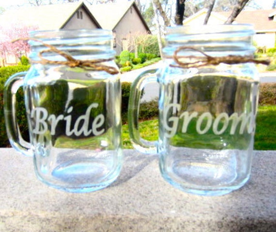 mason jar wedding bride groom mason jar mug set