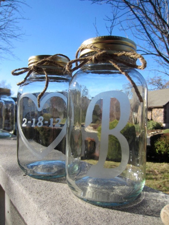 2 Etched Mason Jars - 2Wedding Mason Jar Center Pieces