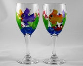 Wine glass, hand painted with tropical fish