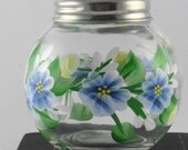 Glass shaker for cheese or red pepper flakes, hand painted.