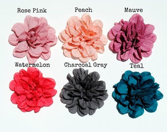 Crinkled Fluffy Fabric Flowers - Your choice of 6 colors - You choose the Quantity! Wholesale Discounts!!