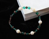 Turquoise, Mother of Pearl, Swarovski Crystal, & Bronze Bracelet