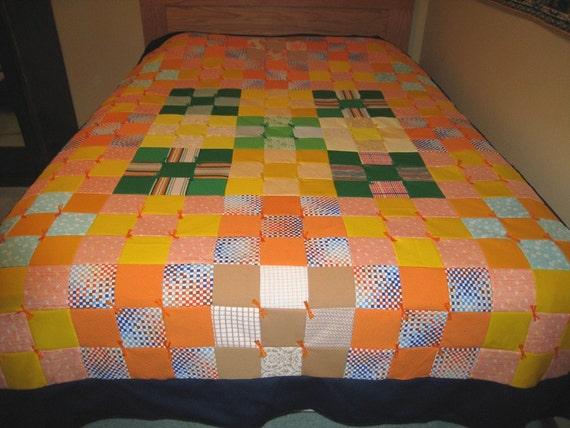 Nine Patch Pattern Tied Full Size Block Quilt