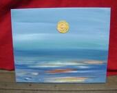 Sunny Sea - Original Abstract Acrylic Painting 16'' x 20