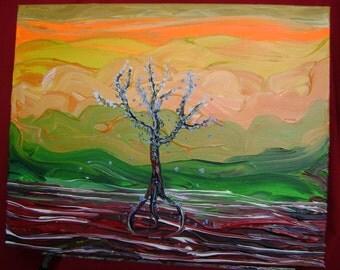 Neon - Original Acrylic Painting - Landscape Canvas - 16 x 20