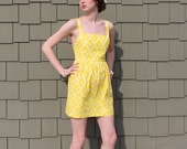 Handmade Yellow Dress, Retro Buttons and Crossed Straps - S,M,L