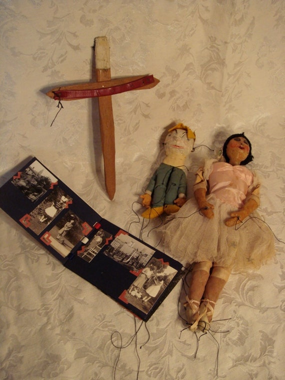REDUCED - Folk Art Antique Marionettes Pair Ballerina and Humpty Dumpty with old photo album