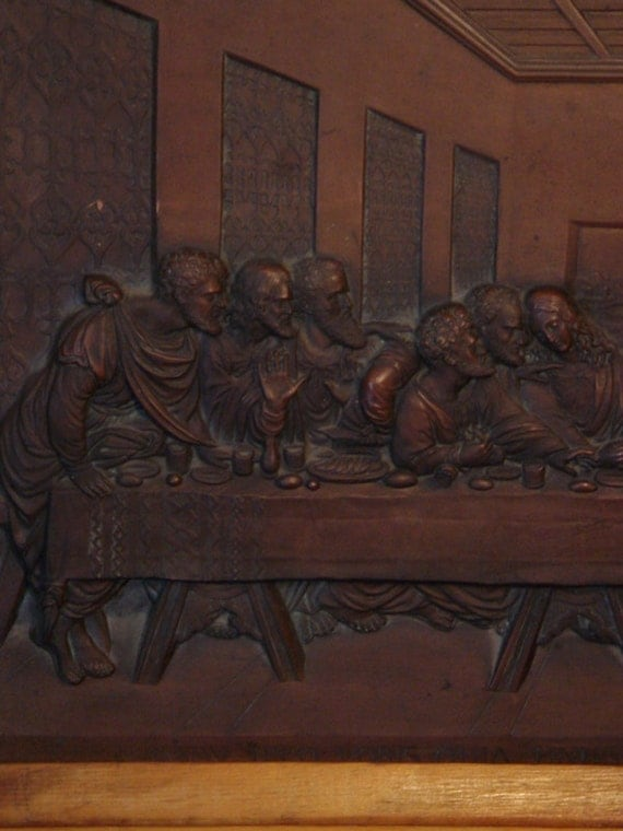 RESERVED FOR DAVID Large Antique Last Supper high relief Oak Frame Religious Art