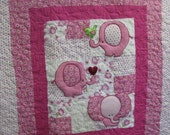Girl Quilt - Pink Elephants - Reserved for Candy