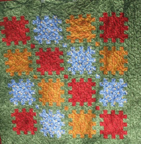 Lap Quilt - Handmade Spring Garden Puzzle