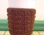 Takeout Coffee Cup Cozy, Hand Knit, Cinnamon Brown