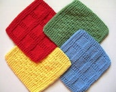 Soft Natural Dish cloths, Hand Knit, Red, Yellow, Green and Blue