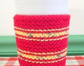 Takeout Coffee Cup Cozy, Hand Knit, Red and Yellow Fleck Stripe