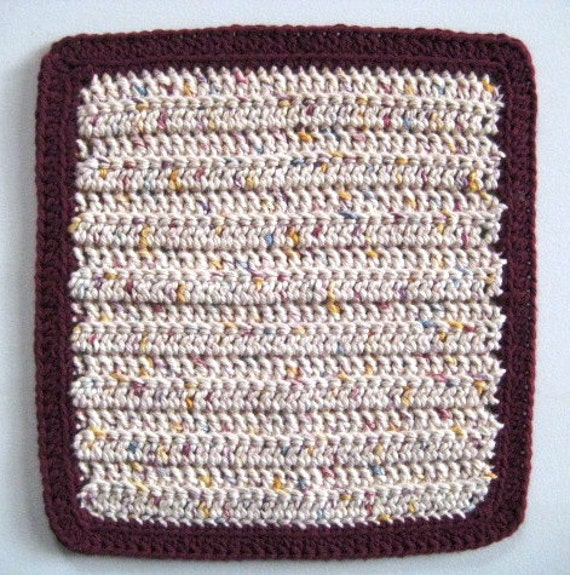 Soft Natural Dish Cloth, Hand Crocheted, Burgundy and More