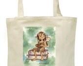 Tote Bag featuring Original Art: Bookish Fairy in Contemplation