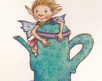 Teapot Fairy original watercolor