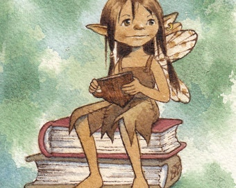 Bookish fairy in contemplation