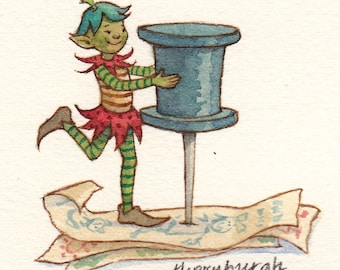 Original Watercolor: Organized Elf