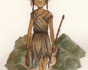 Original Watercolor: Elfin Hunter