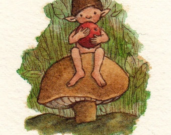 Archival Print of Original Watercolor: Elf Baby with Berry