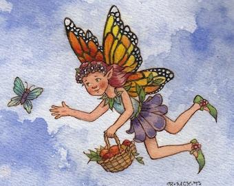 Original Watercolor: Monarch Fairy