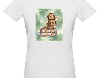 "Baby Tee Featuring Original Art ""Bookish Fairy"""