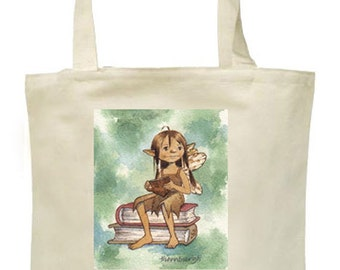Tote Bag featuring Original Art: Bookish Fairy in Contemplation