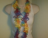 "Crocheted ""Lacy"" Rainbow Flamenco Summer Scarf FREE US Shipping"