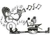 WInter music ART card- Ink drawing PRINT- WHITE