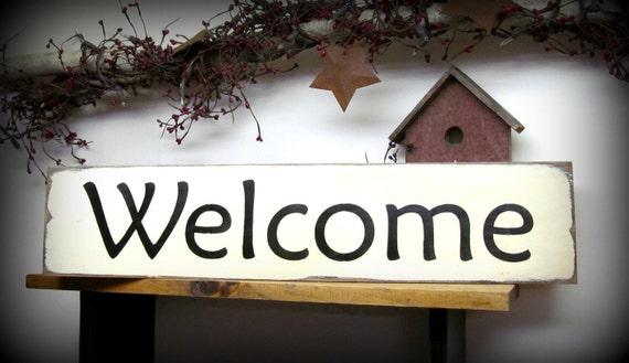 Wood welcome sign front door decor welcome housewarming - Wooden door signs for home ...