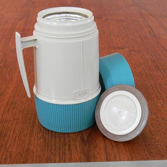 Mint Classic Thermos Brand Vacuum Jar Teal and Beige Pint Size To Go Coffee Mug Mercury Glass Handle