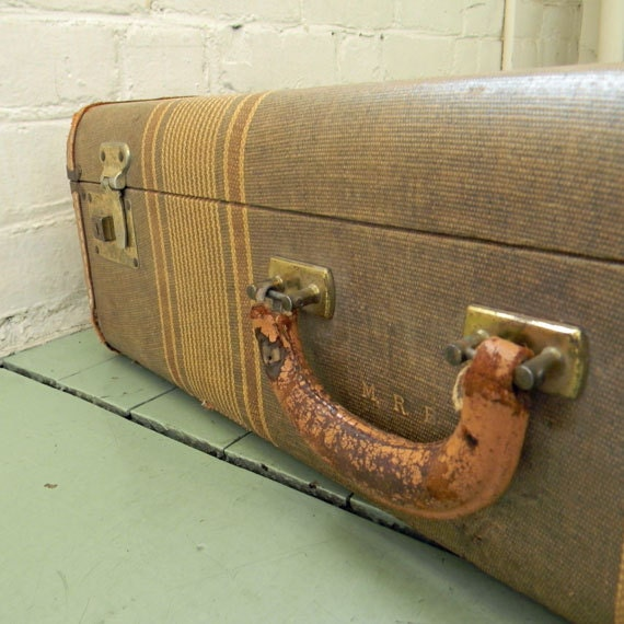 Vintage Industrial Tweed Suitcase with Stripe Design and Leather Detailing Cloth Interior Monogramed Initials M R B Steampunk