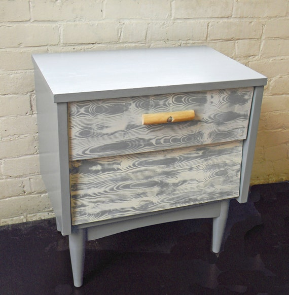 Retro meets Modern Faux Wood Painted Design Side Table with Drawers and Natural Wood Handle Grey and White