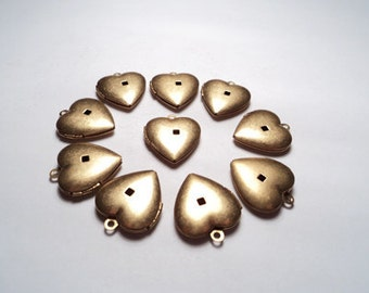 10 - Vintage brass Heart Lockets w/swedge hole - m34