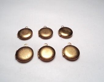 6 pcs - Brass Round mini Lockets - m208