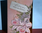 Vintage Card Get Well Lillies Pink 1940s