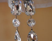Gorgeous Vintage 3-Stone Crystal Dangling Clip-On Earrings