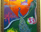 24x28 Whimsical Peacock Painting - Original Acrylic Painting