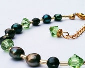 Freshwater Pearl & Swarovski Crystal Bracelet  in Green and Gold