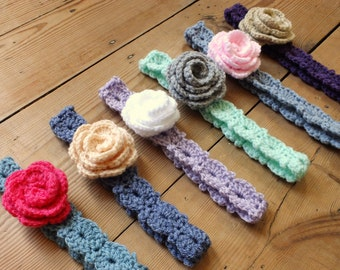 Flower Headbands - Instant Download PDF Crochet Pattern